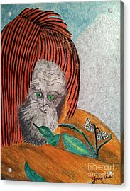 Acrylic Print featuring the painting Orangutan by Jasna Gopic