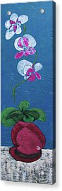 Orchid Inspired Floral On Blue 2 Acrylic Print by John Gibbs