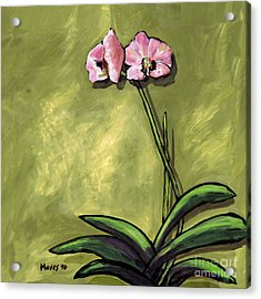 Orchid On Olive Acrylic Print