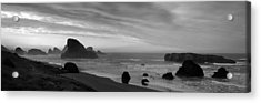 Oregon Coast Panorama Black And White Acrylic Print