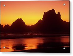 Oregon Coast Rocks Sunset Acrylic Print
