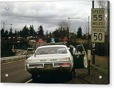 Oregon State Police Stops A Driver Who Acrylic Print by Everett