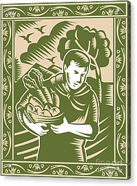 Organic Farmer With Basket Harvest Crops Retro Acrylic Print by Aloysius Patrimonio
