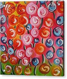 Original Modern Impasto Flowers Painting  Acrylic Print