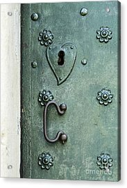 Acrylic Print featuring the photograph Ornamental Metal Doors In Teal by Agnieszka Kubica