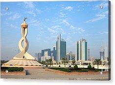 Oryx Roundabout In Qatar Acrylic Print by Paul Cowan