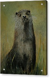 Acrylic Print featuring the painting Otter  Miniature by Lynn Hughes