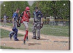 Ouch Baseball Foul Ball Digital Art Acrylic Print by Thomas Woolworth