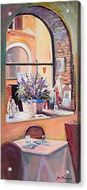 Our Table By The Window Acrylic Print by Jane Woodward