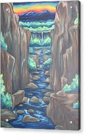 Acrylic Print featuring the painting Out Of The Canyon by Cheryl Pettigrew