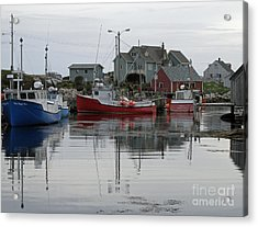 Acrylic Print featuring the photograph Overcast At Peggy's Cove  by Louise Peardon