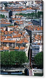Overhead Of City, Lyon, Rhone-alpes, France, Europe Acrylic Print by Glenn Van Der Knijff