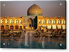Overhead Of Fountains Outside Sheikh Lotfollah Mosque, Emam Khomeini Square, Esfahan, Iran Acrylic Print by Mark Daffey
