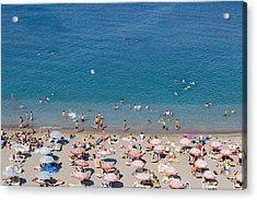 Overhead Of Rhodes Main Beach Acrylic Print by Holger Leue