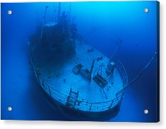 Overhead View Of A Shipwreck On The Sea Acrylic Print by Nick Caloyianis