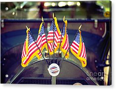 Overland Vintage Car With Flags Acrylic Print by Floyd Menezes
