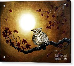Owl In Maple Leaves Acrylic Print by Laura Iverson