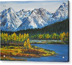 Oxbow-grand Tetons  Acrylic Print by Shirley Heyn