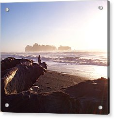 Pacific Ocean Sunsest Walk Acrylic Print by Christine Burdine