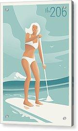 Paddleboarding Seattle Acrylic Print by Mitch Frey