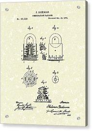 Padlock 1876 Patent Art Acrylic Print by Prior Art Design