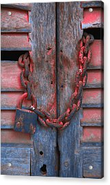 Padlock And Chain On Wooden Door Acrylic Print by Carson Ganci