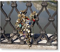 Padlocks On Bridge. Rome Acrylic Print by Bernard Jaubert