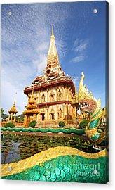 Pagoda In Wat Chalong Phuket  Acrylic Print by Anusorn Phuengprasert nachol