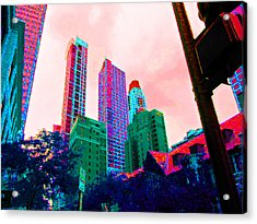 Paint The Town Red Acrylic Print by Val Oconnor