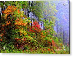 Painted Autumn Acrylic Print by Carolyn Wright