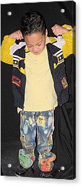 Painted Boys Jeans Acrylic Print by HollyWood Creation By linda zanini