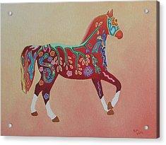 Painted Horse B Acrylic Print by Sonia Stiplosek