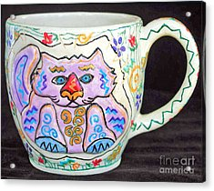 Painted Kitty Mug Acrylic Print by Joyce Jackson