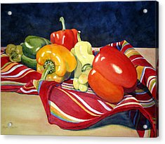 Painted Peppers Acrylic Print
