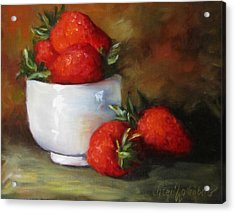 Painting Of Red Strawberries In Rice Bowl Acrylic Print by Cheri Wollenberg