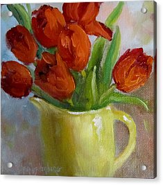 Painting Of Red Tulips Acrylic Print by Cheri Wollenberg