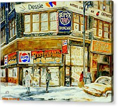 Paintings Of Montreal Streets Downtown Restaurants Rue Ste. Catherine City Scene Acrylic Print by Carole Spandau