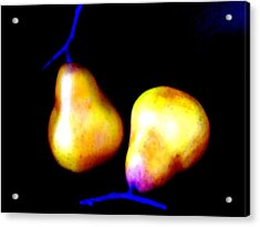 Pair Of Pears Yellow Acrylic Print by Randall Weidner