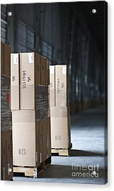 Pallets Of Stacked Boxes Acrylic Print by Jetta Productions, Inc