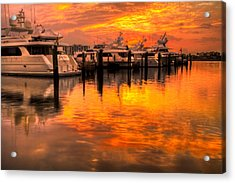Palm Beach Harbor Glow Acrylic Print by Debra and Dave Vanderlaan