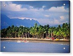 Palms And Beach, Sheraton Royale Hotel, Fiji Acrylic Print by Peter Hendrie