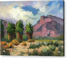 Palms And Indian Head Mountain Acrylic Print by Diane McClary