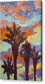 Palms And Sunrise Acrylic Print