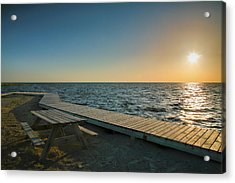 Pamlico Sound And Boardwalk I Acrylic Print by Steven Ainsworth