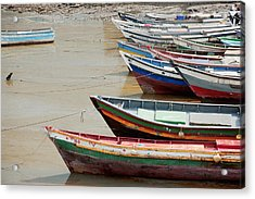 Panama, Panama City, Fishing Boats On Coastline At Low Tide Acrylic Print by DreamPictures