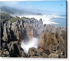Acrylic Print featuring the photograph Pancake Rocks Blowhole by Peter Mooyman