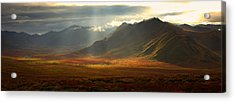 Panoramic Image Of The Cloudy Range Acrylic Print by Robert Postma