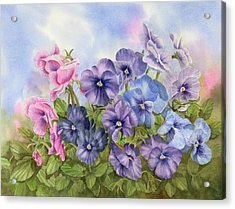 Pansies Acrylic Print by Leona Jones