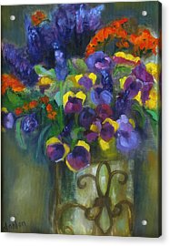 Pansies Acrylic Print by Susan Hanlon