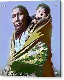 Acrylic Print featuring the mixed media Papoose by Charles Shoup